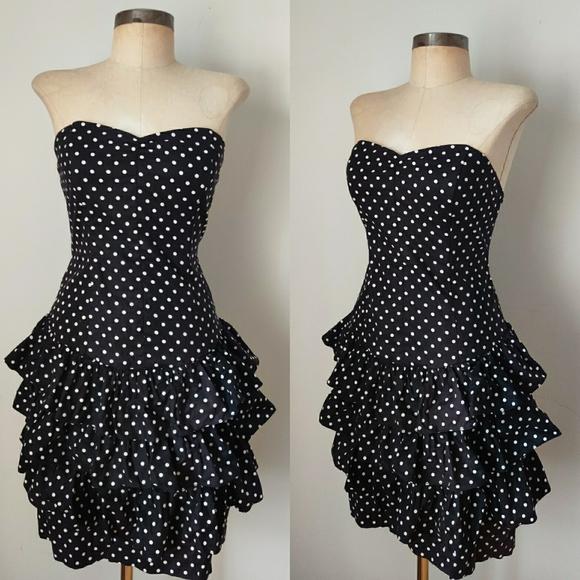 Vintage Dresses & Skirts - 80s Vtg Strapless Ruffled Blac Polka Dot Dress xs